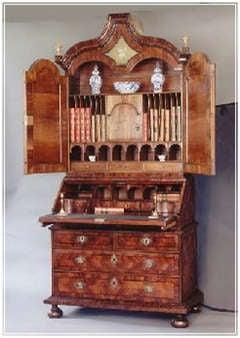 Superb antique mirror door bureau bookcase c.1700