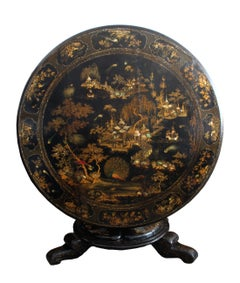 Antique English Japanned Tilt-Top Table