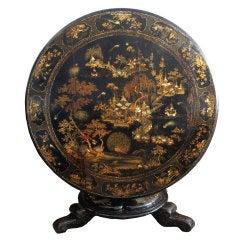 Antiker Englischer Japanischer Tisch mit Klappplatte