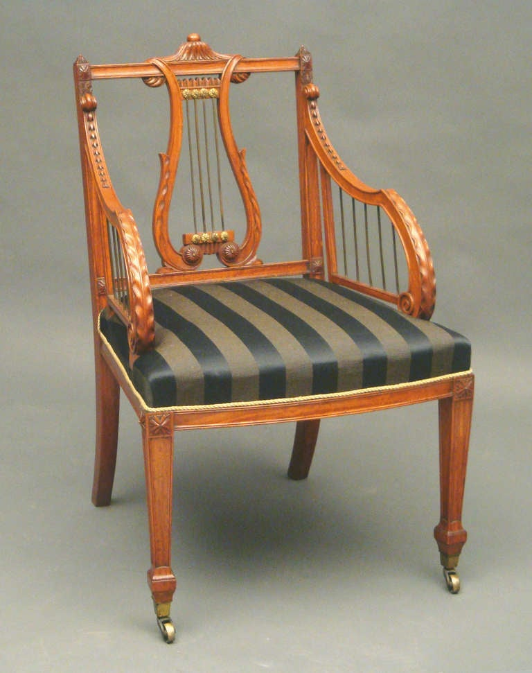 Antique satinwood lyre back armchair by Gillows of Lancaster 2 - Antique Satinwood Lyre Back Armchair By Gillows Of Lancaster For