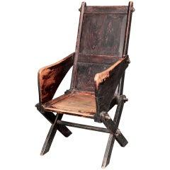 Primitive elm Glastonbury chair in untouched condition