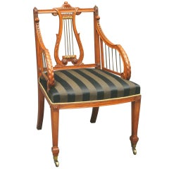 Antique satinwood lyre back armchair by Gillows of Lancaster