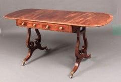 Antique Georgian Mahogany Sofa Table with Lyre Shaped Base