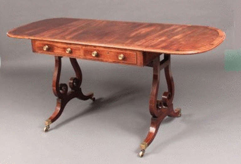 Antique Georgian Mahogany Sofa Table With Lyre Shaped Base For Sale