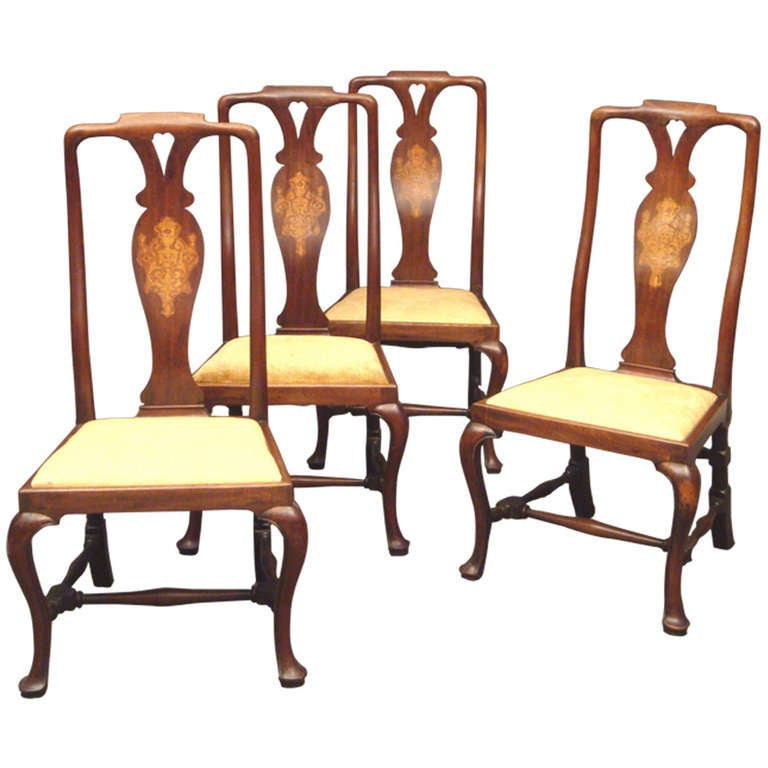 Set of Four George I Walnut and Marquetry Side Chairs