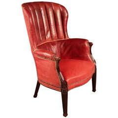 Antique Mahogany Barrel Back Wing Chair