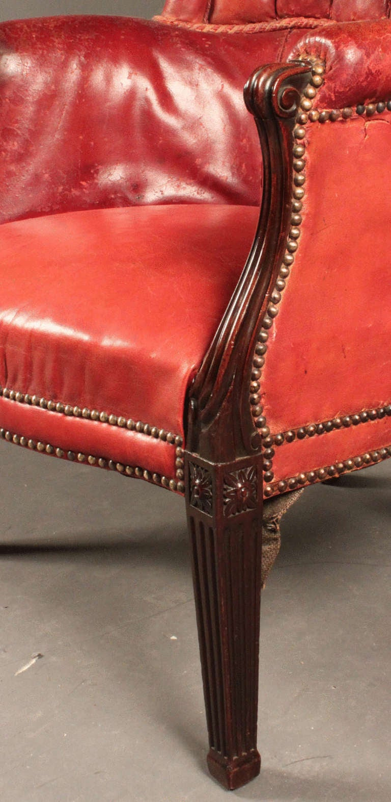 Antique wing chair - Antique Mahogany Barrel Back Wing Chair 3