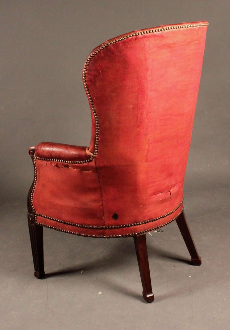 Antique Mahogany Barrel Back Wing Chair At 1stdibs