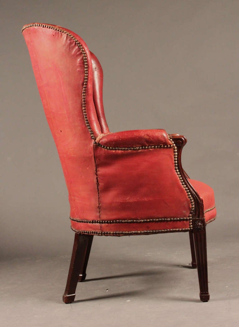 Antique Mahogany Barrel Back Wing Chair For Sale At 1stdibs