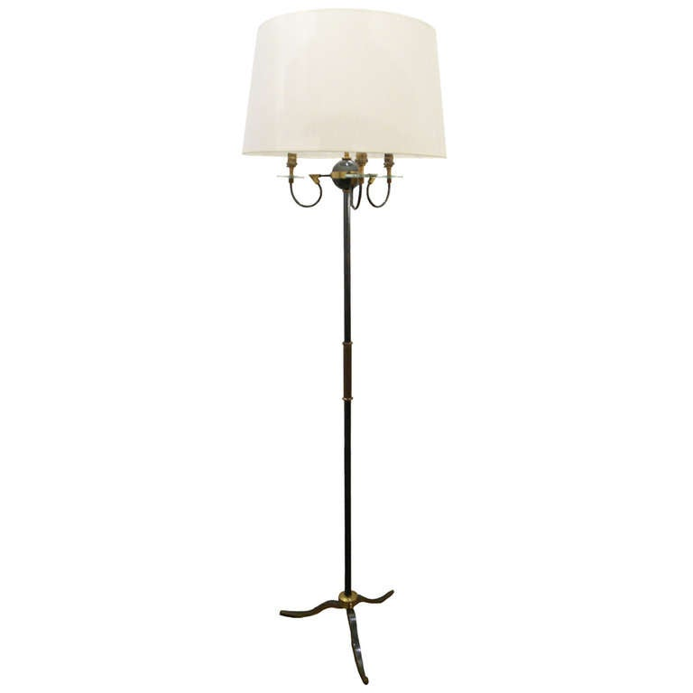 Bronze brass and glass floor lamp by french designer for Designer glass floor lamp