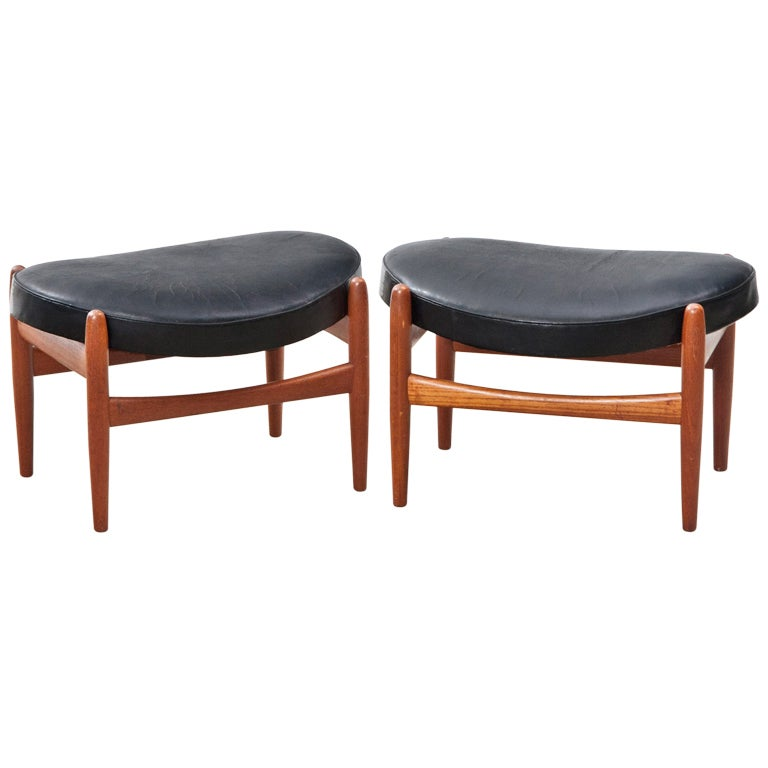 Pair Of Ib Kofod Larsen Stools At 1stdibs