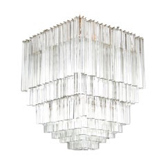 Square Venini Clear Glass Chandelier