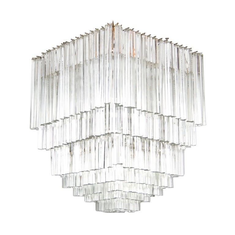 Square Venini Clear Glass Chandelier