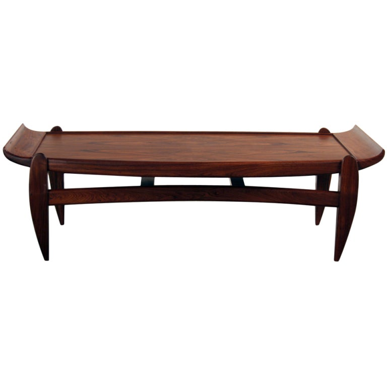 1960s Brown Wooden Sofa Table by Jean Gillon
