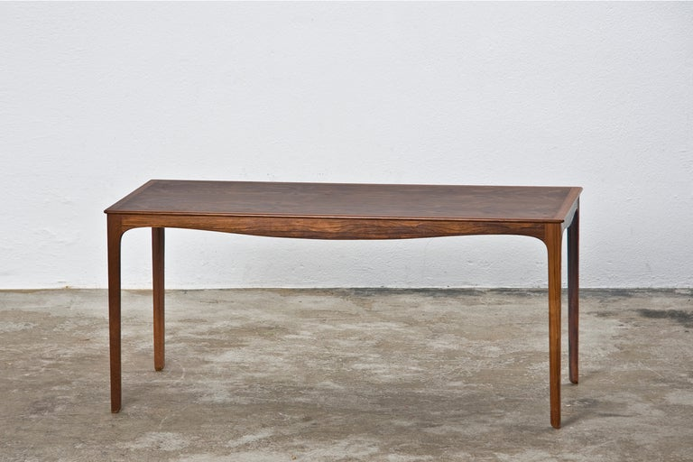Scandinavian Modern 1960s Brown Wooden Side Table by Ole Wanscher For Sale