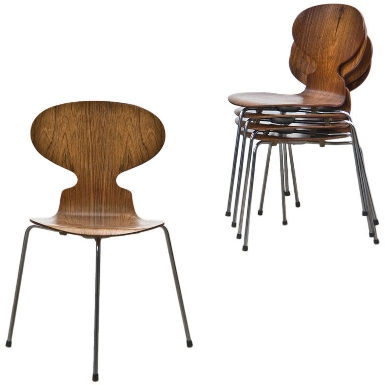 arne jacobsen ant chairs 6 at 1stdibs. Black Bedroom Furniture Sets. Home Design Ideas