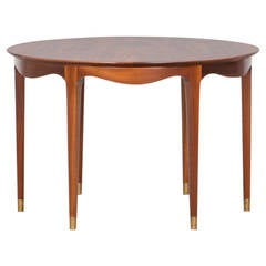 1950's brown wooden Coffee Table by Ole Wanscher