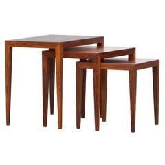 1960s Brown Wooden Set of Three Severin Hansen Nesting Tables