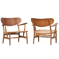 Pair of Hans Wegner Lounge Chairs