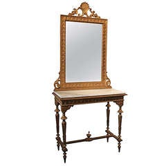 19th Century Italian Carved and Gilt Console and Mirror