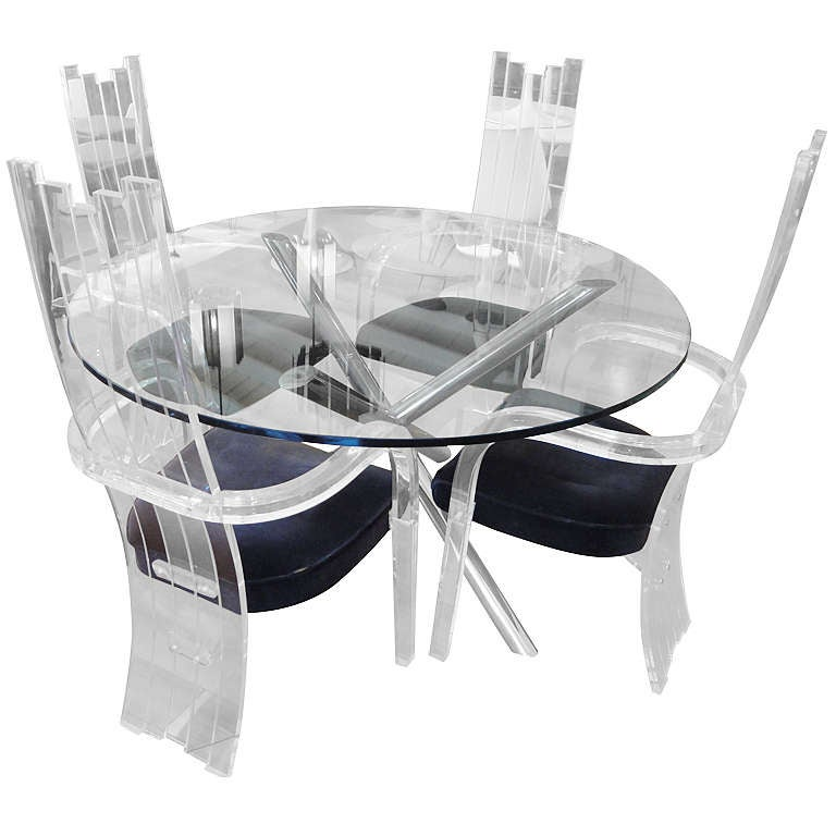 Chrome And Glass Dining Table With 4 Lucite Chairs At 1stdibs