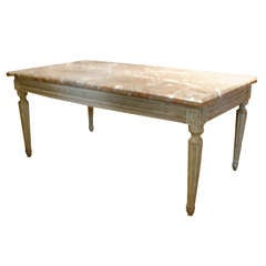 Louis XVI Style Coffee Table with Marble Top