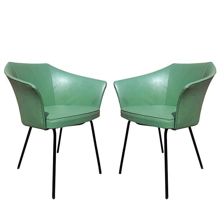 Pair of 1950s cm145 vinyl chairs by pierre paulin at 1stdibs
