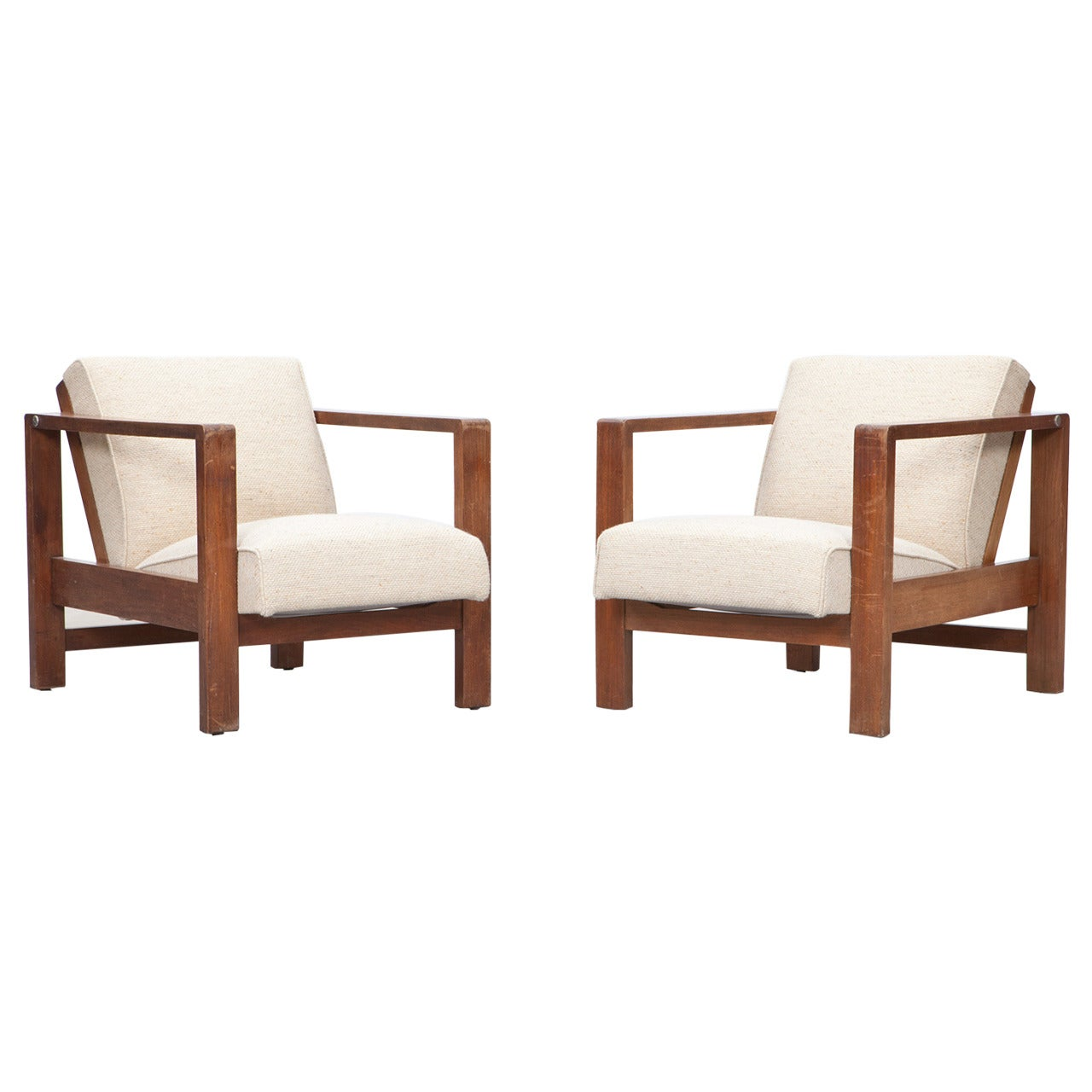 1920s brown oak, white upholstery Lounge Chairs by Erich Dieckmann