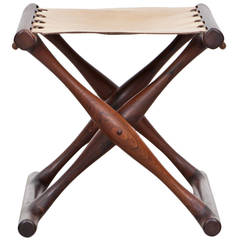 1940s Wooden, Leather Seat Stool by Poul Hundevad