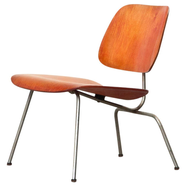 1940u0027s Red Analine LCM Chair By Charles U0026 Ray Eames ...