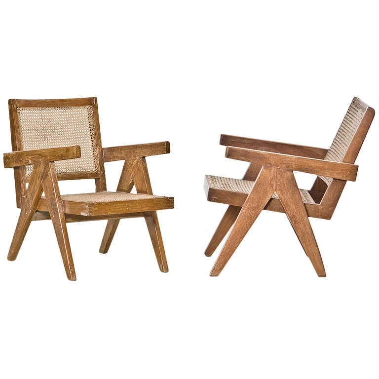 Two Pierre Jeanneret Lounge Chairs For Sale
