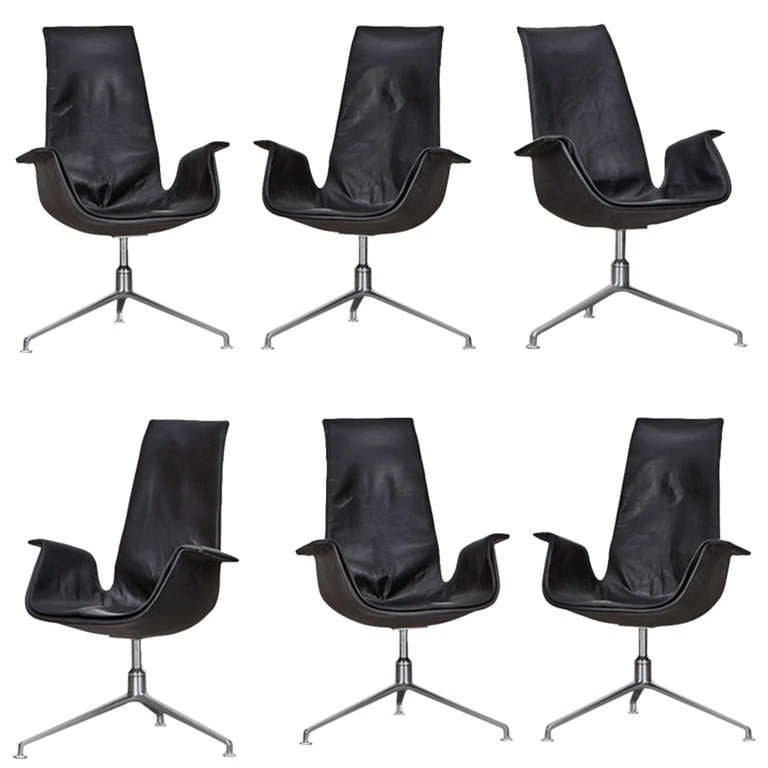 1960s Black Leather, Set of Six Fabricius / Kastholm Leather Armchairs