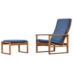 1950s Blue Cushions, Oak Frame Lounge Chair with Ottoman by Børge Mogensen