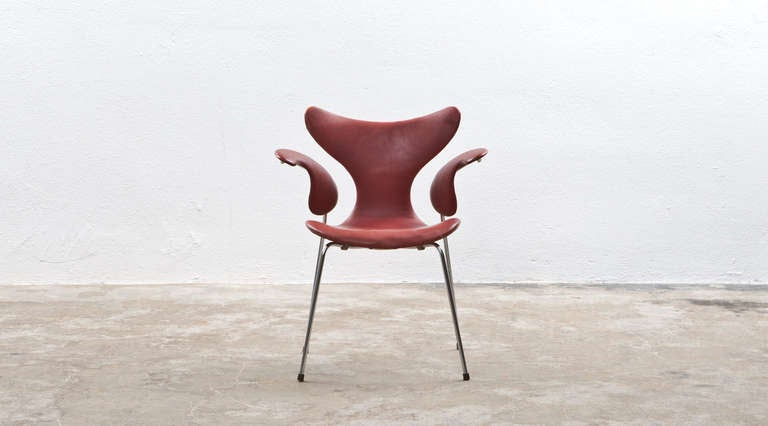 Mid-Century Modern 1960's red leather Arne Jacobsen