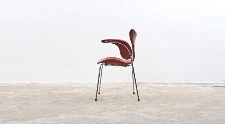 Danish 1960's red leather Arne Jacobsen