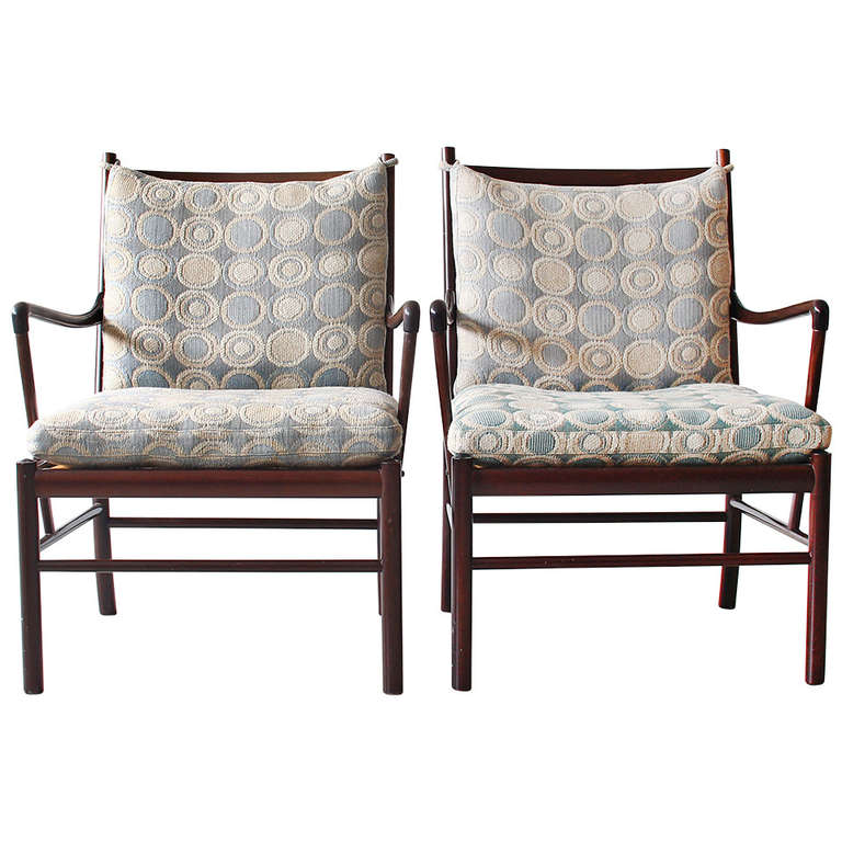 Pair of ole wanscher p jeppesen lounge chairs colonial for P jeppesen furniture