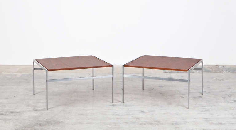 Two matching coffee tables with wooden top and chromium plated metal base. Designed by Danish designer duo Preben Fabricius and Jørgen Kastholm. Manufactured by Bo-Ex.  The duo created influential designs of the 1960s such as the Scimitar and the X