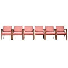 Set of Six Franco Albini Armchairs 'New Upholstery'