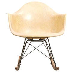 1948 Parchment Color Fiberglass Shell RAR Rocking Chair by Charles & Ray Eames
