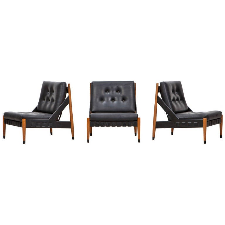 1960s Black Leather, Wooden Frame Lounge Chairs with Ottoman by Egon Eiermann