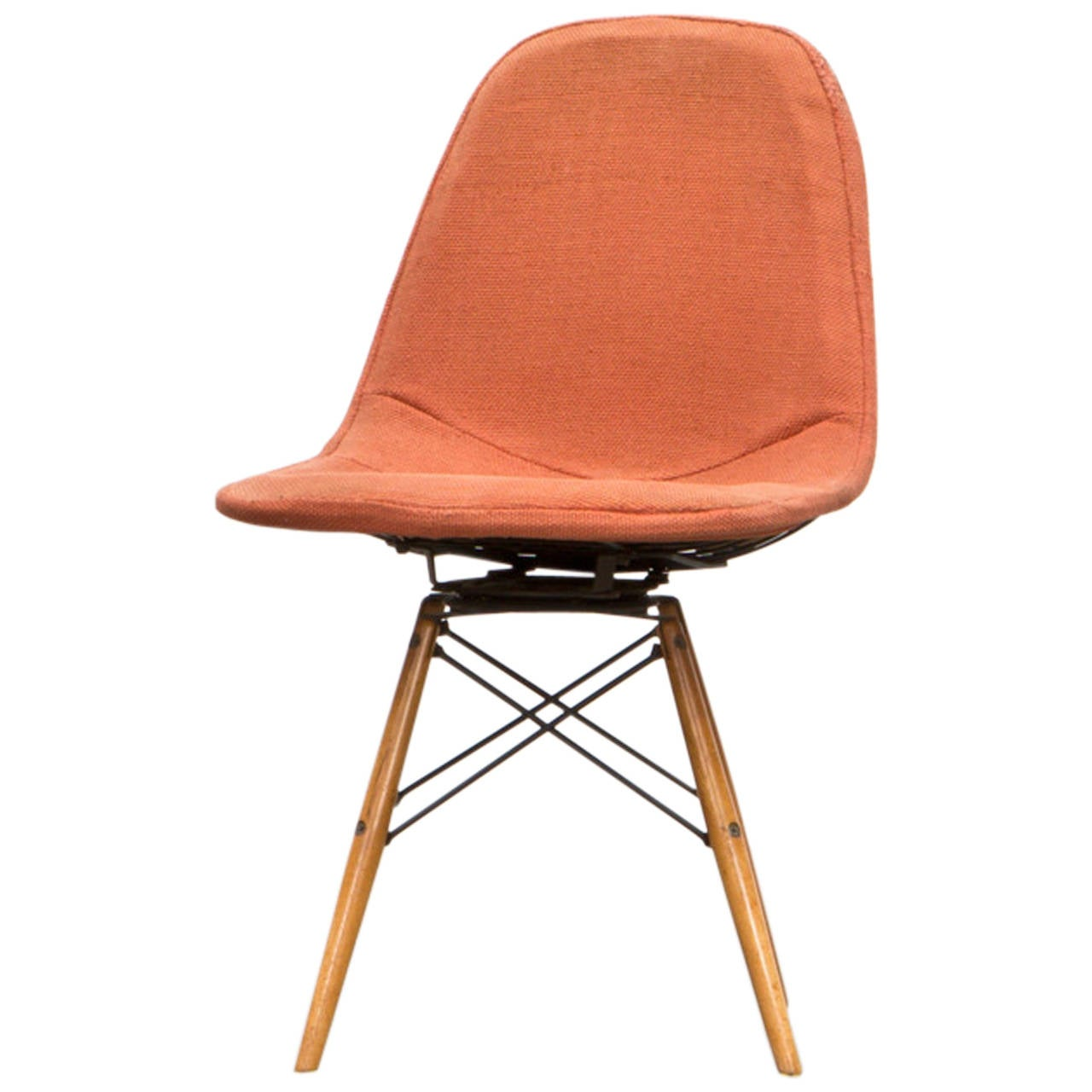 1950 S Orange Fabric Swivel Side Chair By Charles Ray Eames