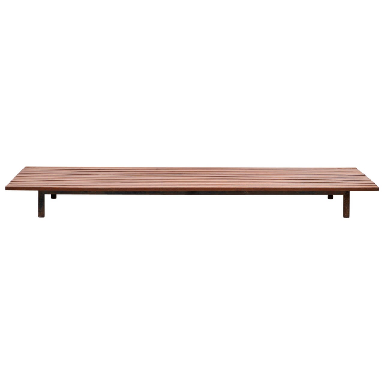 1950s Black Metal, Teak Bench by Charlotte Perriand