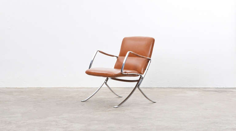 Mid-Century Modern Rare 1960s cognac leather pair of Lounge Chairs by Jørgen Kastholm For Sale