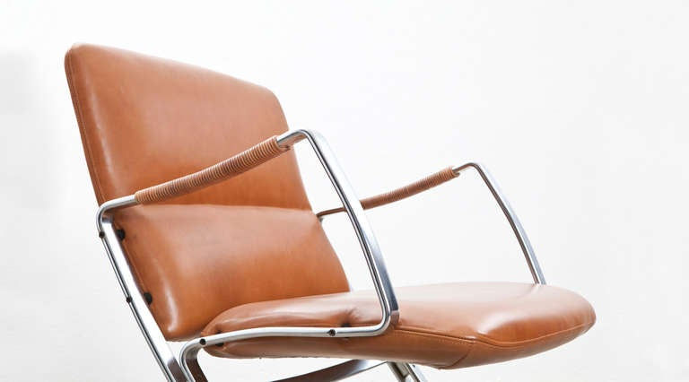 German Rare 1960s cognac leather pair of Lounge Chairs by Jørgen Kastholm For Sale