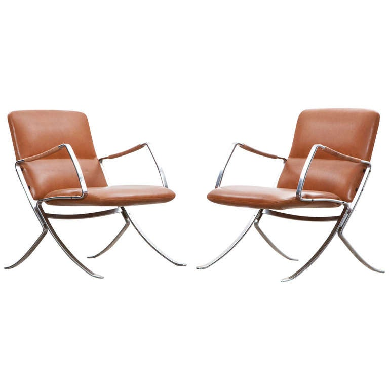 Rare 1960s cognac leather pair of Lounge Chairs by Jørgen Kastholm For Sale