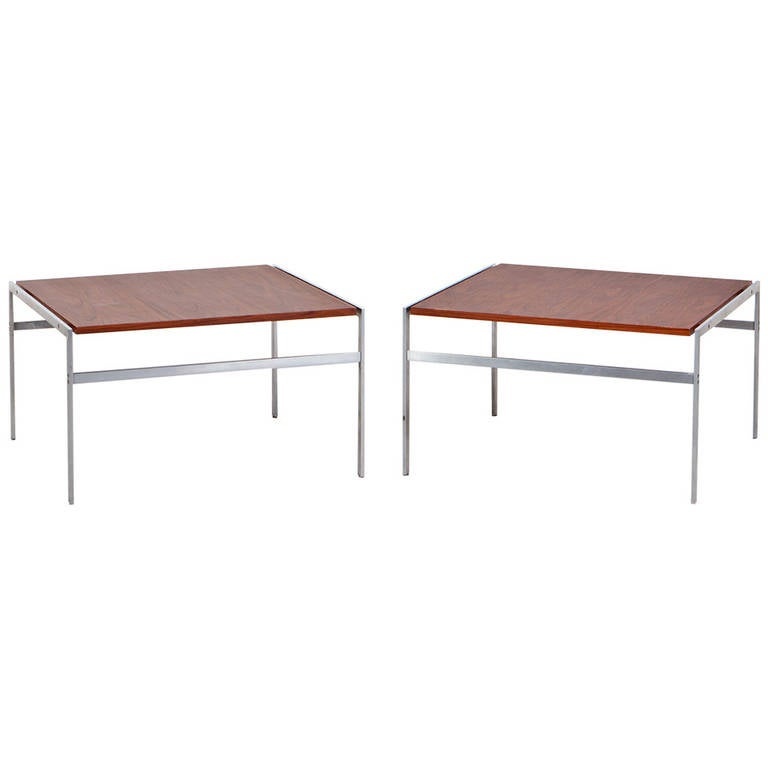 1960s Brown Wooden Pair of Fabricius and Kastholm Coffee Tables For Sale