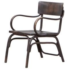 1920's black beech bentwood Armchair by Ferdinand Kramer