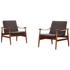 Finn Juhl Lounge Chairs in Teak, New Upholstery
