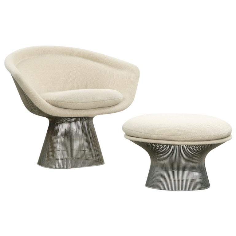 warren platner easy chair with ottomane at 1stdibs