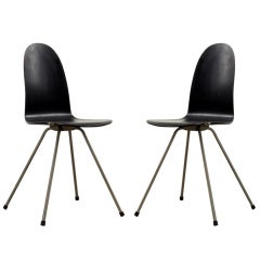 "1950's black wooden pair of Arne Jacobsen ""Tongue"" Chairs"